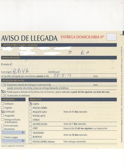 carta de BBVA. - 0002